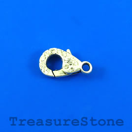 Clasp, lobster claw, silve-plated, 17mm with crystals. Pkg of 2.
