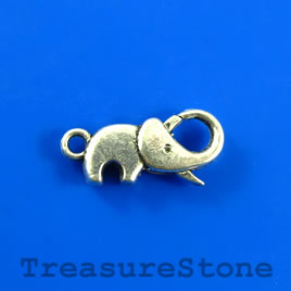 Clasp, lobster, silver-colored, 11x20mm elephant. Pkg of 5.