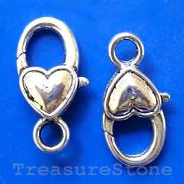 Clasp, lobster claw, silver-finished, 15x27mm. Pkg of 2.