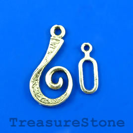 Clasp, toggle, antiqued silver-finished, 13x22mm/12x6mm.Pkg of 6