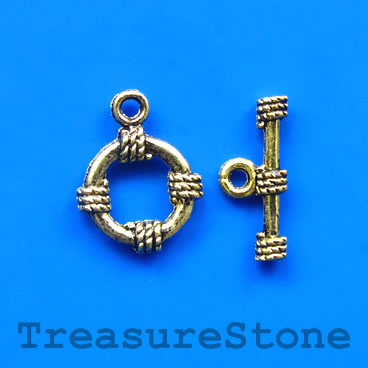 Clasp, toggle, antiqued gold-finished, 13mm/19mm. Pkg of 10.