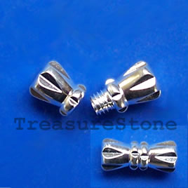 Clasp, barrel, silver-finished brass, 12x5mm. Pkg of 6.