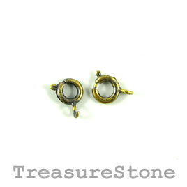 Clasp, springring, brass-finished, 6mm round. Pkg of 25.