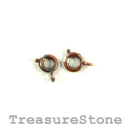 Clasp, springring, copper-finished, 6mm round. Pkg of 25.