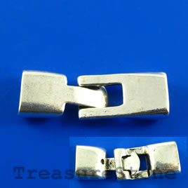Clasp, silver-colored, 12x36mm. Pkg of 2.