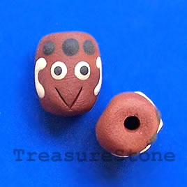 Bead, clay, 12x14mm. Pkg of 4.