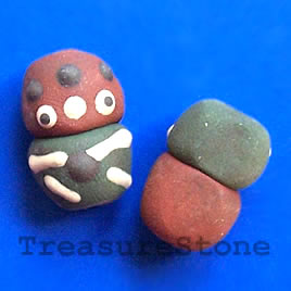 Bead, clay, 13x19mm. Pkg of 4.