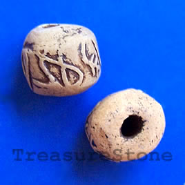 Bead, clay, 15mm. Pkg of 4.