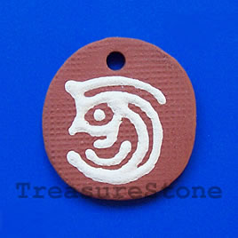Pendant, clay, 33x35mm. Sold individually.