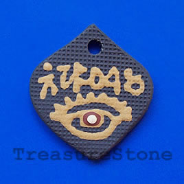 Pendant, clay, 35x40mm. Sold individually.