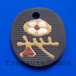 Pendant, clay, 32x34mm. Sold individually.