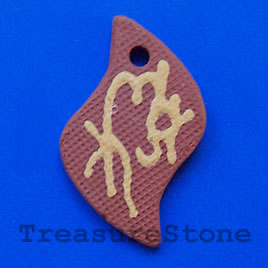 Pendant, clay, 30x47mm. Sold individually.