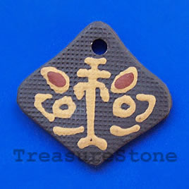 Pendant, clay, 38x42mm. Sold individually.