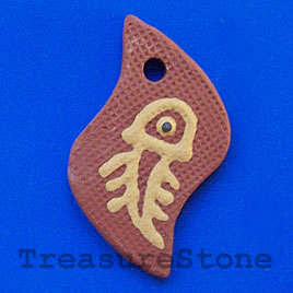 Pendant, clay, 30x48mm. Sold individually.