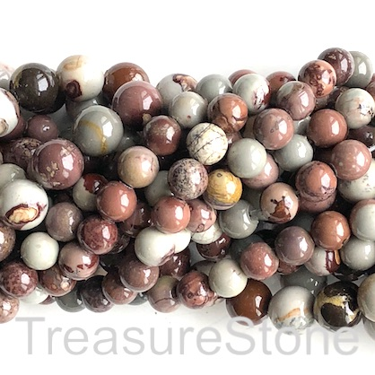 Bead, Coffee Bean Jasper 3, 8mm round. 15 inch, 47pcs