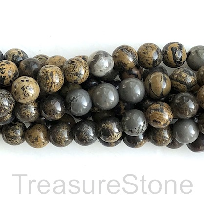 Bead, Coffee Bean Jasper 2, 8mm round. 15.5 inch, 48pcs
