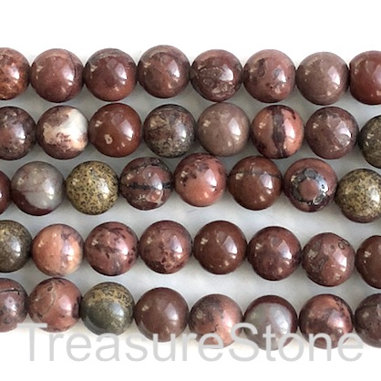 Bead, Coffee Bean Jasper, 10mm round, grade B. 15.5 inch, 39pcs