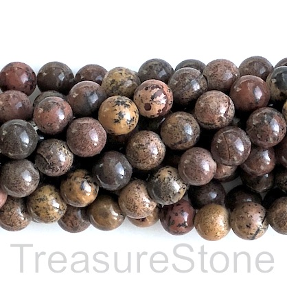 Bead, Coffee Bean Jasper, 8mm round, grade B. 15.5 inch, 48pcs