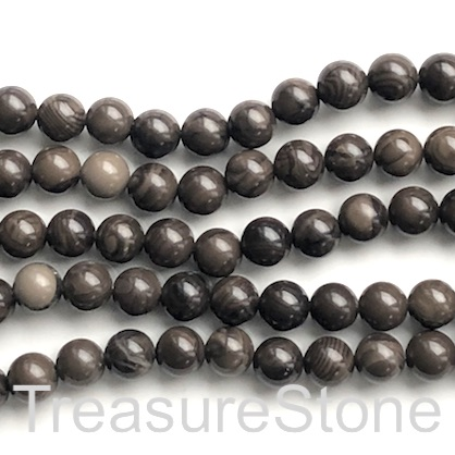 Bead, Coffee Wooden Jasper, 8mm round. 15 inch, 46pcs
