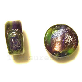 Bead, lampworked glass, 14x7mm flat round. Pkg of 5.