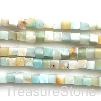 Bead, color amazonite, 6mm cube, grade B-. 15.5-inch, 60pcs