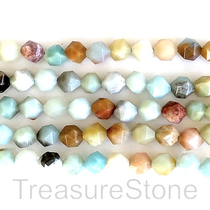 Bead, color amazonite, 8mm, faceted nugget, star cut. 15inch, 48