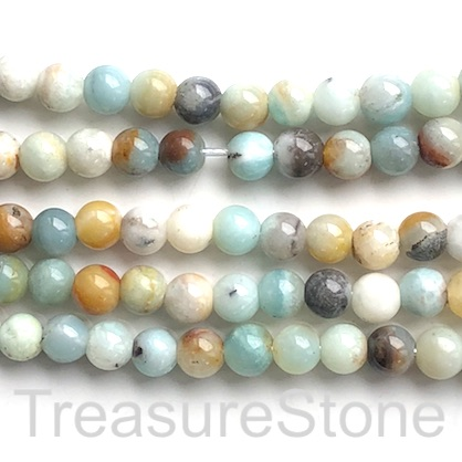 "Bead, colour amazonite, 8mm round, large hole, 2mm. 14.5"", 48pcs"