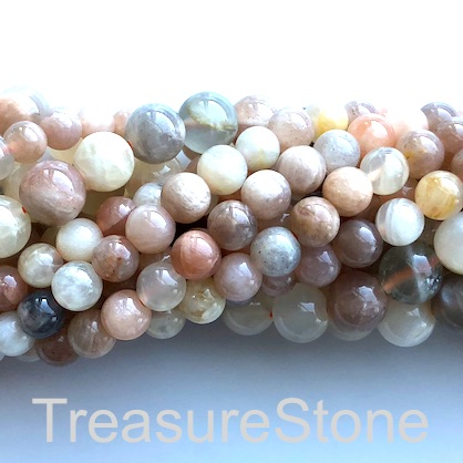 Bead, colour moonstone, 6mm round, grade B. 15-inch, 65pcs