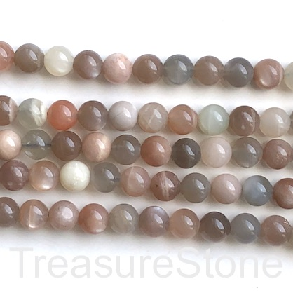 Bead, colour moonstone, 8mm round, grade B. 15-inch, 49pcs