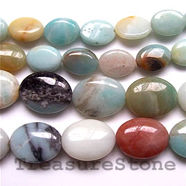 Bead, color amazonite, 14x18mm flat oval. 16-inch strand.