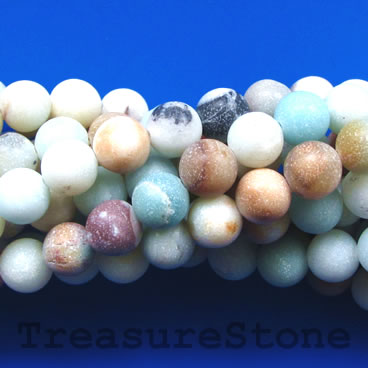 Bead,color amazonite,matt, frosted, 8mm round, B 15-inch, 45pcs