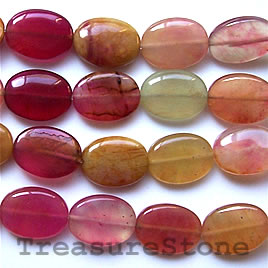 Bead, color jade, 15x20mm flat oval. 16-inch strand.