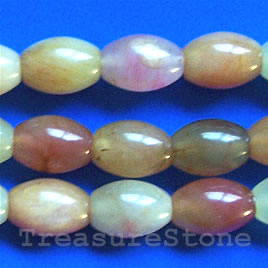 Bead, color jade, 13x18mm oval. 16-inch strand.