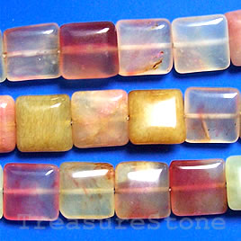 Bead, color jade, 16mm flat square. 16-inch strand.