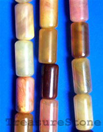 bead, color jade, 10x20mm tube. 16-inch strand.