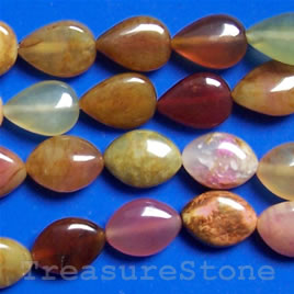 Bead, color jade, 10x13mm flat teardrop. 16-inch strand.