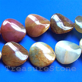 Bead, color jade, 25mm wavy round. 16-inch strand.