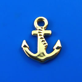 Charm, gold-finished, 14mm anchor. Pkg of 6.