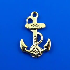 Charm, gold-finished, 19x26mm anchor. Pkg of 4.
