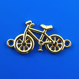 Link, gold-finished, 20x38mm bike. Pkg of 2.