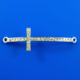 Link, silver-finished, 16x50mm cross with crystals. Sold each.