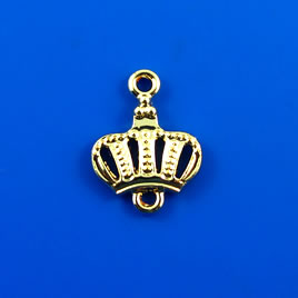 Charm, gold-finished, 13mm crown. Pkg of 9.