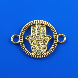 Link, gold-finished, 20mm Fatima Hand with crystals. Sold each.