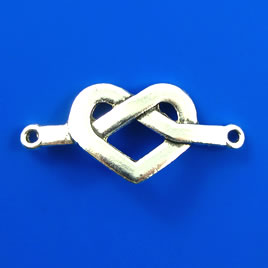 Link/Pendant, silver-finished, 17x37mm heart. Pkg of 4