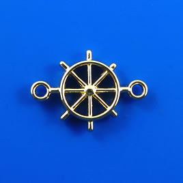 Link, gold-finished, 15x22mm helm wheel. Pkg of 5.
