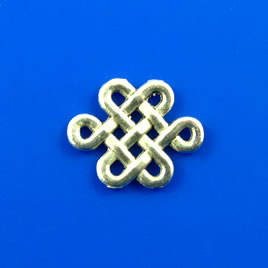 Charm/connector, silver-finished, 13x15mm knot. Pkg of 10.
