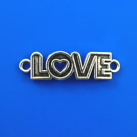 "Link/pendant, silver-finished, 10x36mm ""LOVE"". Pkg of 4"