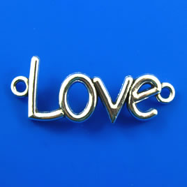 "Link/Pendant, silver-finished, 16x40mm ""Love"". Pkg of 4."