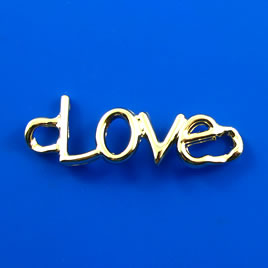 "Link/pendant, gold-finished, 15x44mm ""Love"". Pkg of 2."