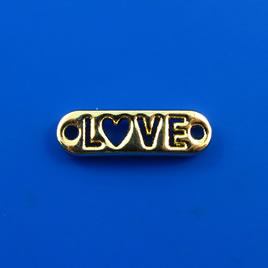 "Link/charm, gold-finished, 6x20mm ""LOVE"". Pkg of 6."